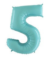 Jumbo Number 5 Pastel Blue Foil Balloon
