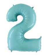 Jumbo Number 2 Pastel Blue Foil Balloon