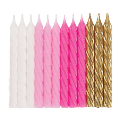 Pink White & Gold Spiral Birthday Candles