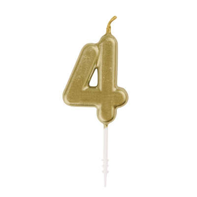 Mini Gold # 4 Pick Birthday Candle