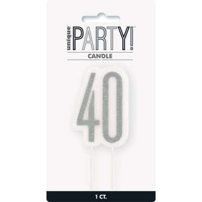 Glitz Black Numeral Birthday Candle 40
