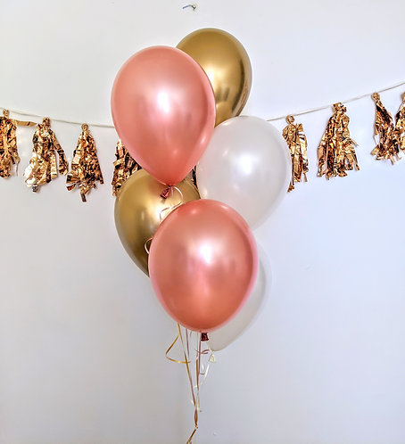 6 Latex Balloons -Rose Gold & White