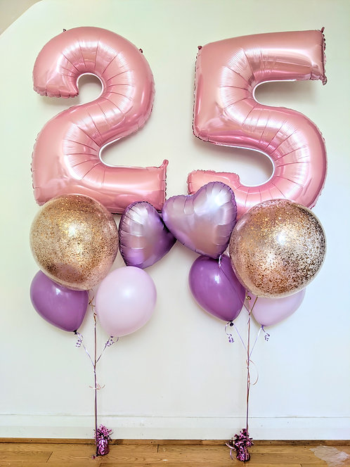 Pastel Number Balloon bouquet. - Double Digit