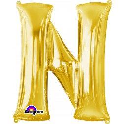 """Super Shape Letter- """" N """" Gold"""