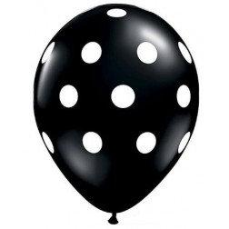 "11"" Latex Balloon-Onyx Black Polka dot"