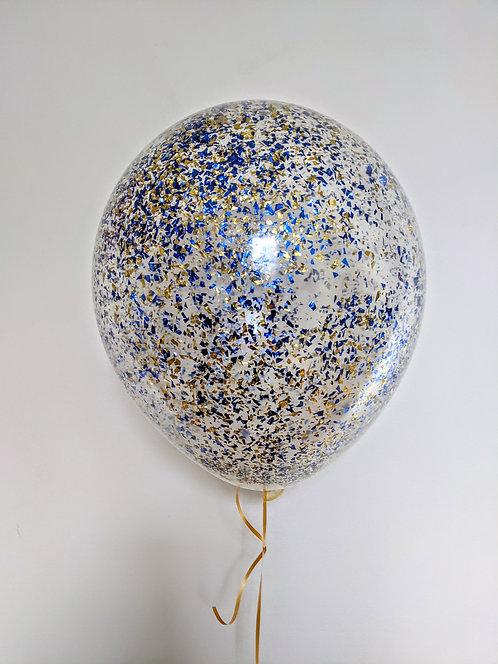 "16"" Gold & Blue Confetti Balloon"