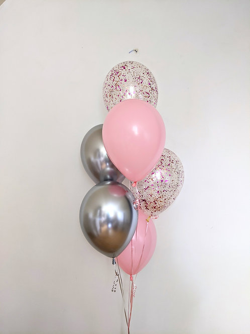 6 Latex Balloons - Silver and Confetti