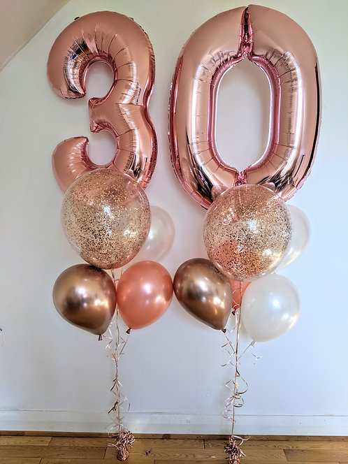 30th Birthday Number Package - Rose Gold
