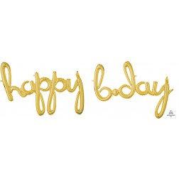 Happy Bday Script - Gold