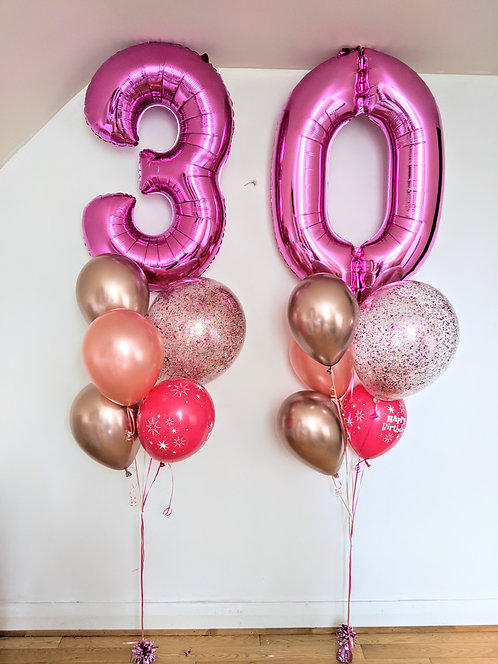 30th Birthday Number Package - Pink