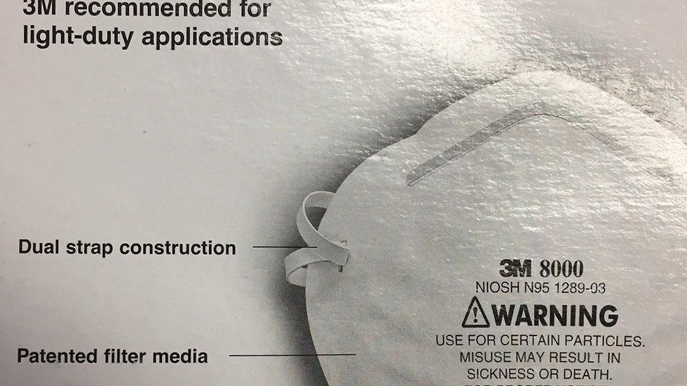 3M N95 Mask 8000 Particle Respirator Box of 30