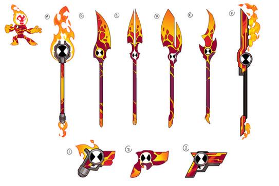 Ben 10 - Heatblast Weapon Concepts