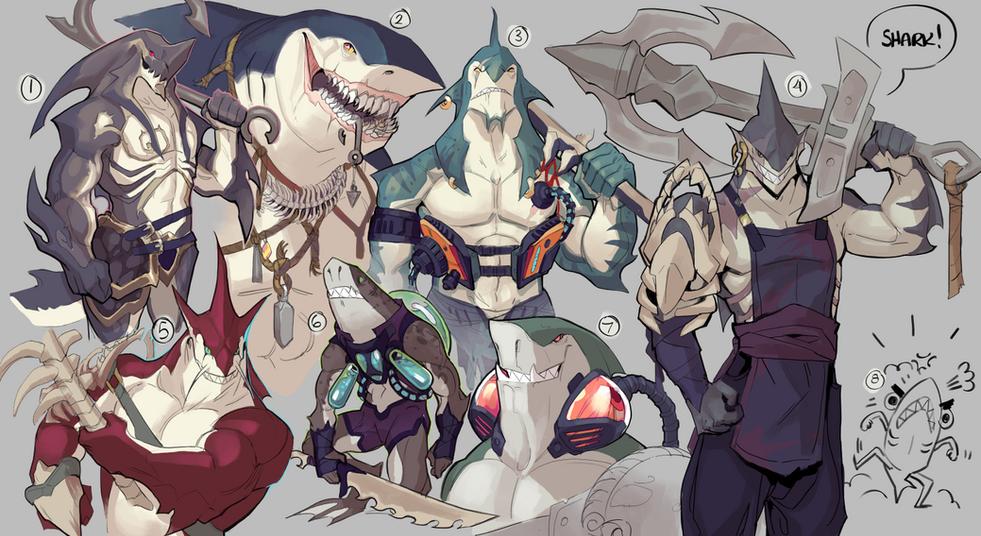 Brawlhalla: Shark Concept Sketches