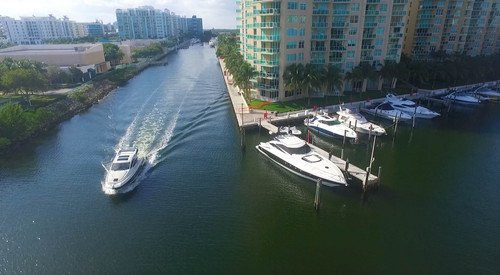 Miami Boat Aerial Photography
