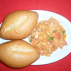 Egg firfir with beef/chicken (እንቁላል ፍርፍር በበሬ/በዶሮ ሥጋ)