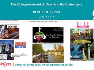 Le Gers dans les médias : plus de 100 articles ont vanté la Destination au mois d'août !