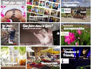 Zoom sur la page d'accueil du site web de la Destination Gers