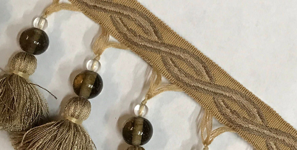 Gold - Taupe - Beaded - Tassel Fringe