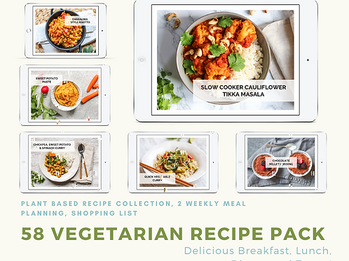 58 Vegetarian Recipe Collection and 2-Week Meal Plan
