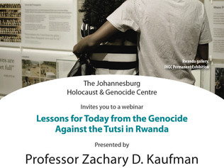 VIRTUAL EVENT TODAY: Lessons for Today from the Genocide Against the Tutsi in Rwanda with Professor
