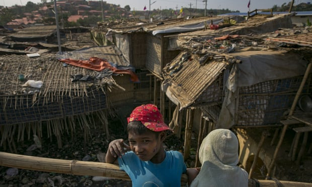 Makeshift housing in the Cox's Bazar refugee camp. Photograph: Allison Joyce/Getty Images
