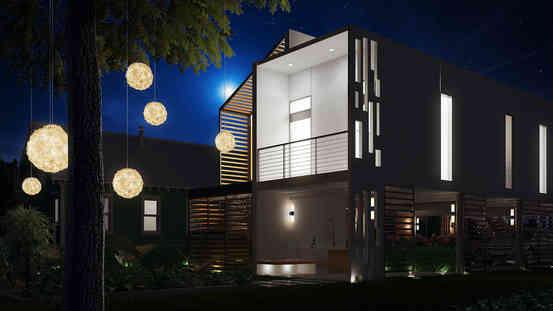 Backyard Design at Night