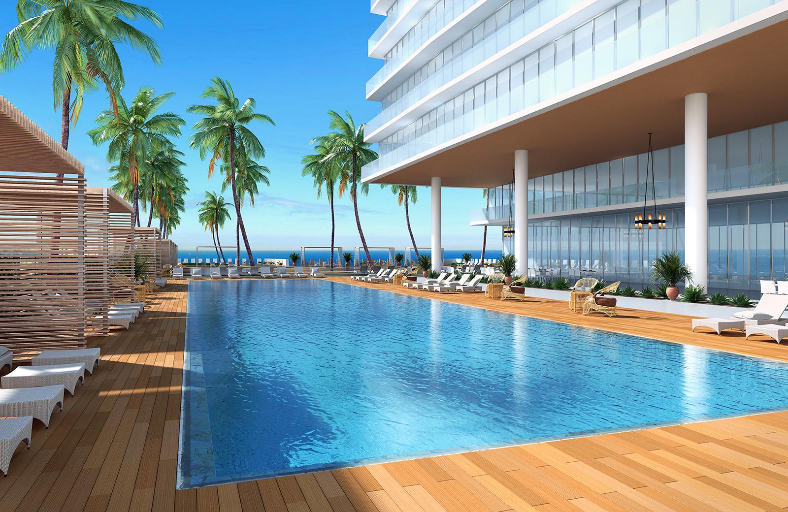 Sunny Pool Deck Rendering