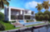 Private residence with waterfront access. Rendering was commissioned to help client visualize final aesthetics of house before construction began.