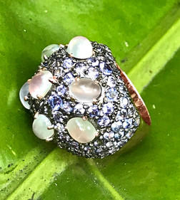 MOONSTONE CABS WITH TANZANITE PAVE #PEA8A-RG800
