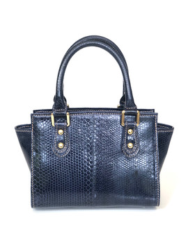 SEA SNAKE SMALL SATCHEL IN NAVY BLUE $495