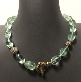 """FLUORITE GOLD FILLED BEADS WHITE/YELLOW SAPPHIRE PAVE BALLS/RING/TOGGLE 20"""" #PHI30NK895"""