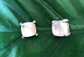 rose quartz cushion cab & cz on sterling #CUV12ER295