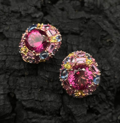 Pink Topaz, Kyanite, Tanzanite, Pink & Yellow Sapphire Earrings