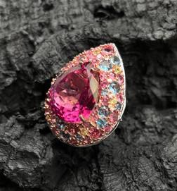Pink Topaz, London Blue Topaz, Tourmaline & Tanzanite Ring