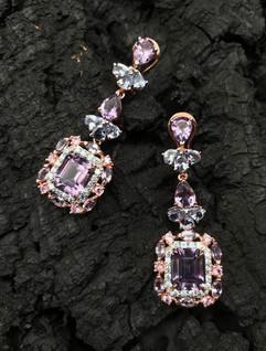 Amethyst, Tanzanite, Pink Sapphire & Blue Zircon Earrings