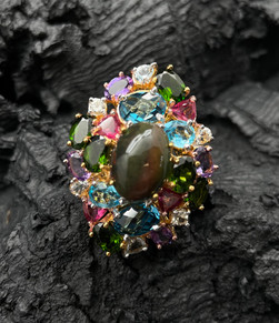 Opal, Blue & London Blue Topaz, Aquamarine, Amethyst, Pink Tourmaline, Green Chrome & Yellow Sapphire Ring