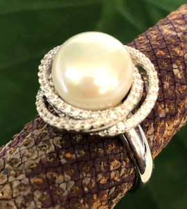 fresh water pearls & cz on sterling silver #CUV1RG295