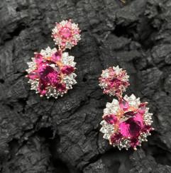 Pink Topaz & White Zircon Earrings