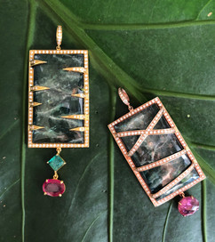 KYANITE ON 18K YELLOW GOLD DIAMOND RUBY EMERALD #LUS3APT, KYANITE PINK TOURMALINE DIAMOND 18K ROSE GOLD #LUS3BPT3550