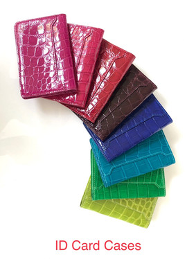 ID CARD CASES IN SHINY FINISH $295: ROSE KISS PINK FLAME RED GOLDEN BROWN ELECTRIC BLUE VERT & PALM