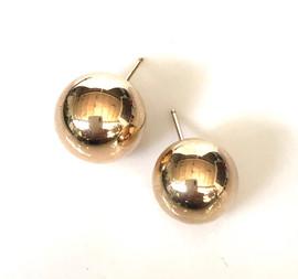14 mm 14K yellow gold ball earrings post back #BDM2ER550