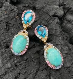 Amazonite, Blue Topaz, Pink, Yellow & Fancy Sapphire, Tanzanite & Blue Zircon Earrings