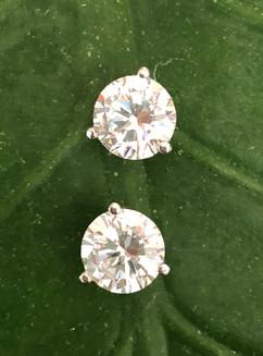 cz on 14K white gold stud earrings #BDM2ER295