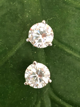 cz on 14K white gold stud earrings #BDM2ER295