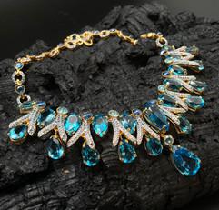 Blue & London Blue Topaz, Blue Sapphire, Kyanite, Tanzanite & White Zircon Necklace