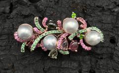 South Sea Grey Pearls, Green Chrome, Green Garnet, Tourmaline & Pink Sapphire Pendant