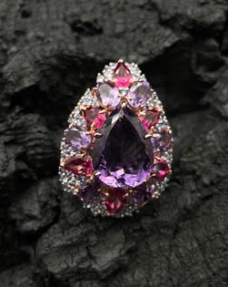Amethyst, Pink Topaz & Tanzanite Ring