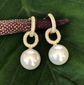 synthetic pearls cz on 18K yellow gold plating #CLA2GER390