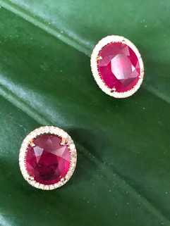 FACETED RUBY & DIAMONDS OMEGA BACK #DQ16ER995