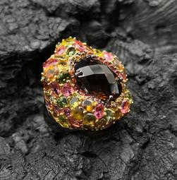 Citrine, Orange, Yellow & Fancy Sapphire Ring